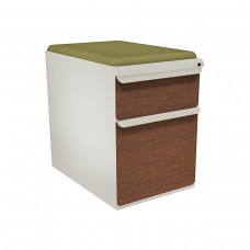 """Mobile Ped with Seat, Box/File, Featherstone, Collectors Cherry Fronts, 23""""D, Fennel Fabric"""