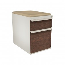 """Mobile Ped with Seat, Box/File, Featherstone, Figured Mahogany Fronts, 23""""D, Flax Fabric"""