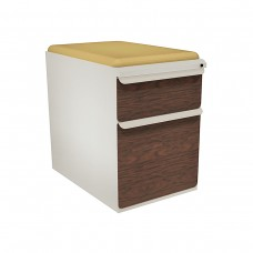 """Mobile Ped with Seat, Box/File, Featherstone, Figured Mahogany Fronts, 23""""D, Forsythia Fabric"""