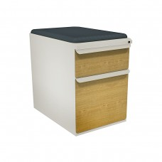 """Mobile Ped with Seat, Box/File, Featherstone, Solar Oak Fronts,  23""""D, Iris Fabric"""