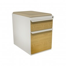 """Mobile Ped with Seat, Box/File, Featherstone, Solar Oak Fronts,  23""""D, Flax Fabric"""