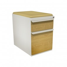 """Mobile Ped with Seat, Box/File, Featherstone, Solar Oak Fronts,  23""""D, Forsythia Fabric"""