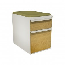 """Mobile Ped with Seat, Box/File, Featherstone, Solar Oak Fronts,  23""""D, Fennel Fabric"""