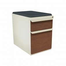 """Mobile Ped with Seat, Box/File, Putty, Collectors Cherry Fronts, 23""""D, Iris Fabric"""