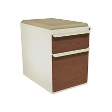 """Mobile Ped with Seat, Box/File, Putty, Collectors Cherry Fronts, 23""""D, Flax Fabric"""