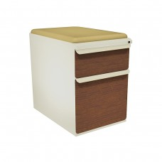 """Mobile Ped with Seat, Box/File, Putty, Collectors Cherry Fronts, 23""""D, Forsythia Fabric"""