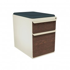 """Mobile Ped with Seat, Box/File, Putty, Figured Mahogany Fronts, 23""""D, Iris Fabric"""