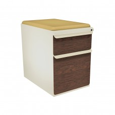 """Mobile Ped with Seat, Box/File, Putty, Figured Mahogany Fronts, 23""""D, Forsythia Fabric"""