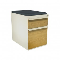 """Mobile Ped with Seat, Box/File, Putty, Solar Oak Fronts,  23""""D, Iris Fabric"""