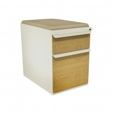 """Mobile Ped with Seat, Box/File, Putty, Solar Oak Fronts,  23""""D, Flax Fabric"""