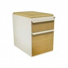 """Mobile Ped with Seat, Box/File, Putty, Solar Oak Fronts,  23""""D, Forsythia Fabric"""