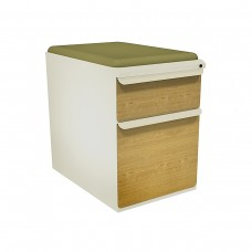 """Mobile Ped with Seat, Box/File, Putty, Solar Oak Fronts,  23""""D, Fennel Fabric"""