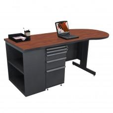 Beautiful Zapf Office Desk with Bookcase, 75W x 30H, Dark Neutral Finish/Collector's Cherry Laminate