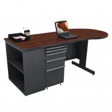 Beautiful Zapf Office Desk with Bookcase, 75W x 30H, Dark Neutral Finish/Figured Mahogany Laminate
