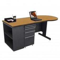 Beautiful Zapf Office Desk with Bookcase, 75W x 30H, Dark Neutral Finish/Solar Oak Laminate