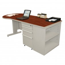 Beautiful Zapf Office Desk with Bookcase, 75W x 30H, Light Gray Finish/Collector's Cherry Laminate