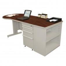 Beautiful Zapf Office Desk with Bookcase, 75W x 30H, Light Gray Finish/Figured Mahogany Laminate
