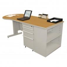 Beautiful Zapf Office Desk with Bookcase, 75W x 30H, Light Gray Finish/Solar Oak Laminate