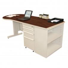 Beautiful Zapf Office Desk with Bookcase, 75W x 30H, Putty Finish/Figured Mahogany Laminate