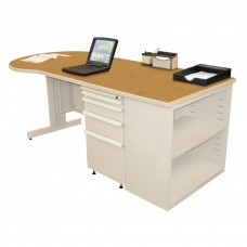 Beautiful Zapf Office Desk with Bookcase, 75W x 30H, Putty Finish/Solar Oak Laminate