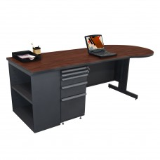 Beautiful Zapf Office Desk with Bookcase, 87W x 30H, Dark Neutral Finish/Figured Mahogany Laminate