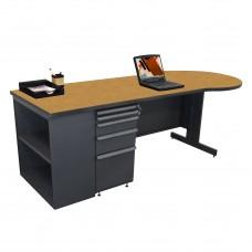 Beautiful Zapf Office Desk with Bookcase, 87W x 30H, Dark Neutral Finish/Solar Oak Laminate