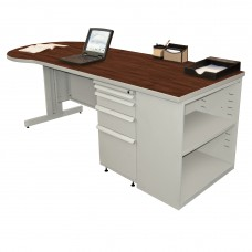 Beautiful Zapf Office Desk with Bookcase, 87W x 30H, Light Gray Finish/Figured Mahogany Laminate