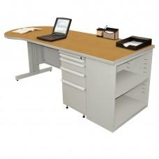 Beautiful Zapf Office Desk with Bookcase, 87W x 30H, Light Gray Finish/Solar Oak Laminate