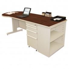 Beautiful Zapf Office Desk with Bookcase, 87W x 30H, Putty Finish/Figured Mahogany Laminate