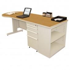 Beautiful Zapf Office Desk with Bookcase, 87W x 30H, Putty Finish/Solar Oak Laminate