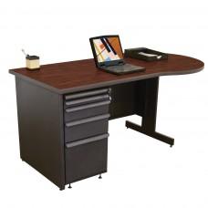 Beautiful Zapf Office Desk, 60W x 30H, Dark Neutral Finish/Figured Mahogany Laminate