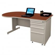Beautiful Zapf Office Desk, 60W x 30H, Light Gray Finish/Collectors Cherry Laminate