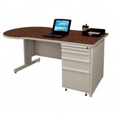 Beautiful Zapf Office Desk, 60W x 30H, Light Gray Finish/Figured Mahogany Laminate