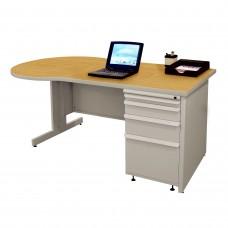 Beautiful Zapf Office Desk, 60W x 30H, Light Gray Finish/Solar Oak Laminate