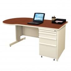 Beautiful Zapf Office Desk, 60W x 30H, Putty Finish/Collectors Cherry Laminate