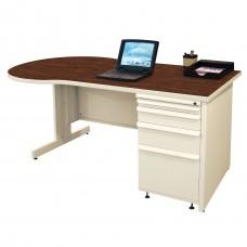 Beautiful Zapf Office Desk, 60W x 30H, Putty Finish/Figured Mahogany Laminate