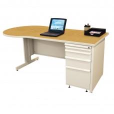 Beautiful Zapf Office Desk, 60W x 30H, Putty Finish/Solar Oak Laminate