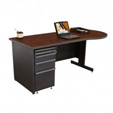 Beautiful Zapf Office Desk, 72W x 30H, Dark Neutral Finish/Figured Mahogany Laminate