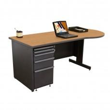 Beautiful Zapf Office Desk, 72W x 30H, Dark Neutral Finish/Solar Oak Laminate