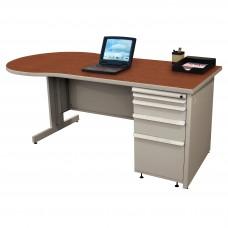 Beautiful Zapf Office Desk, 72W x 30H, Light Gray Finish/Collectors Cherry Laminate