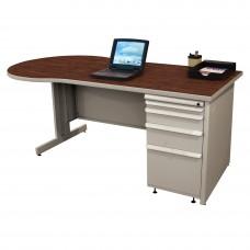 Beautiful Zapf Office Desk, 72W x 30H, Light Gray Finish/Figured Mahogany Laminate