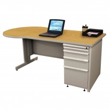 Beautiful Zapf Office Desk, 72W x 30H, Light Gray Finish/Solar Oak Laminate