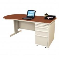 Beautiful Zapf Office Desk, 72W x 30H, Putty Finish/Collectors Cherry Laminate