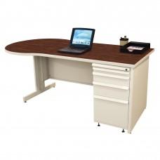 Beautiful Zapf Office Desk, 72W x 30H, Putty Finish/Figured Mahogany Laminate